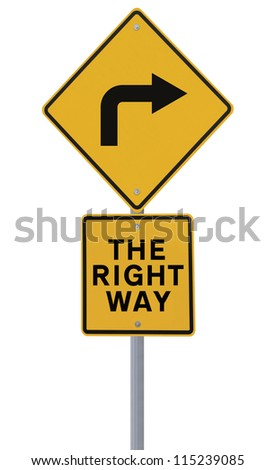 Conceptual road sign (isolated on white background)