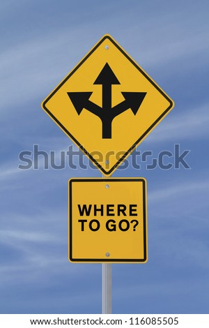 Conceptual road sign on choices or making decisions (against a blue sky background) - stock photo