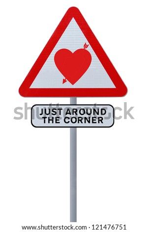 Conceptual road sign on love (on white)