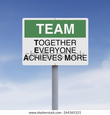 Conceptual road sign on teamwork  - stock photo