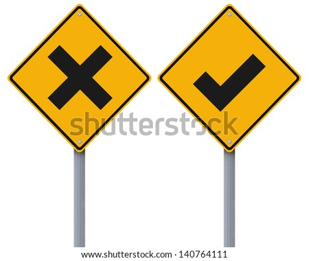 Conceptual road signs with a tick mark and cross mark - stock photo