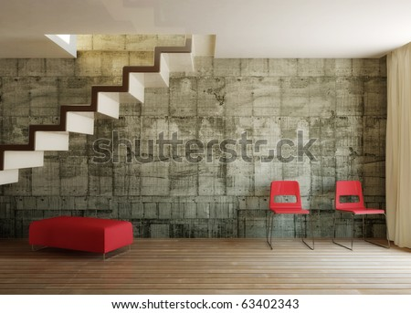 conceptual room with concrete wall - stock photo