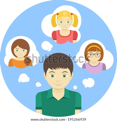 Conceptual round illustration of a boy thinking about several girls - stock photo