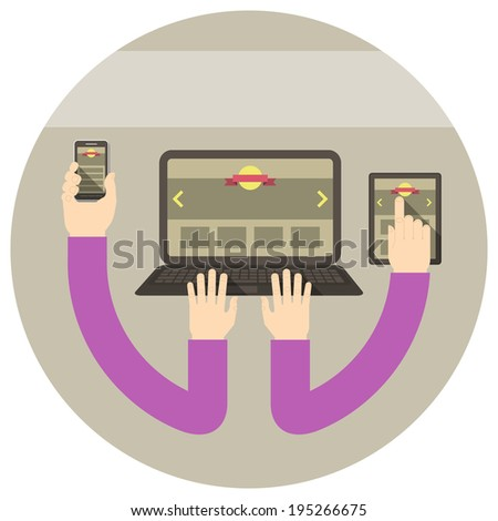 Conceptual round illustration of responsive web design with laptop, tablet and smart phone connected with hands - stock photo