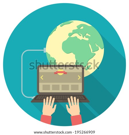 Conceptual round illustration of the Internet connection with a laptop connected to the web - stock photo