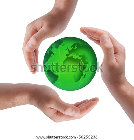 Conceptual safety symbol made from hands over globe