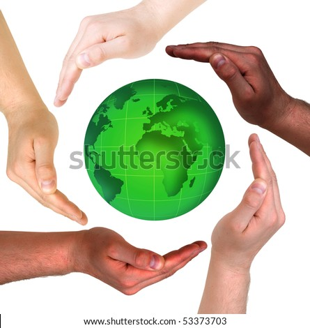 Conceptual safety symbol made from hands over globe - stock photo