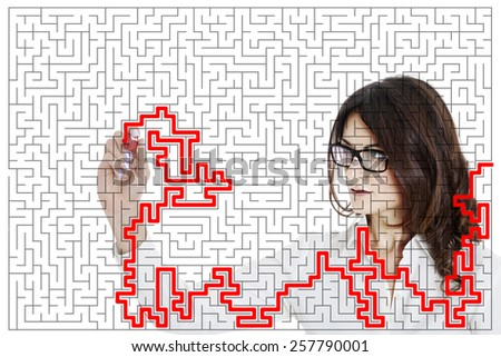 conceptual seek out of the maze - stock photo