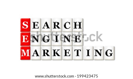 Conceptual SEM Searh Engine Marketing acronym on white  - stock photo