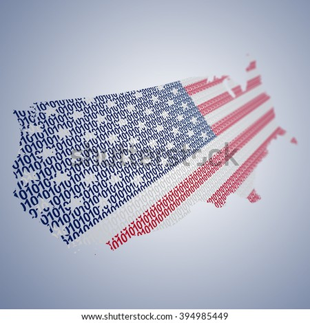 Conceptual series of USA flags formed and shaped creatively - binary code - stock photo
