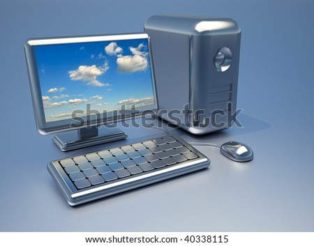 Conceptual shiny chrome computer with sky on display - 3d render