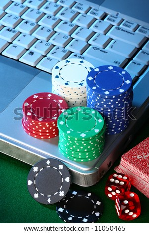 Conceptual shot for online gambling. - stock photo
