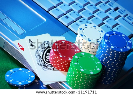 Conceptual shot for online poker - stock photo