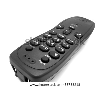 conceptual shot of a black modern handset phone isolated on white