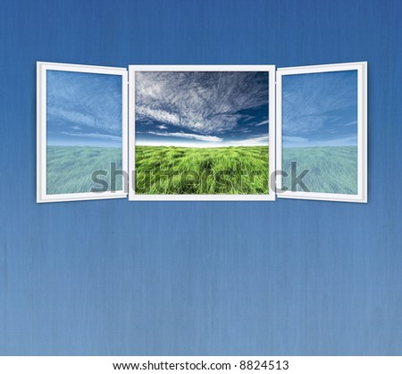Conceptual shot of freedom and dreaming in real estate business with copy space for design. Room for cropping. Blue wall. - stock photo