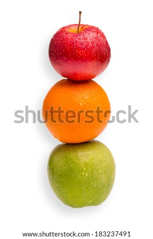 Conceptual shot - you cannot compare apples with oranges - stock photo