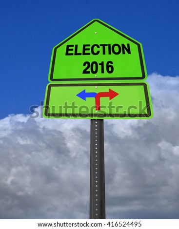 conceptual sign election 2016 left or right over dramatic  blue sky, 3D rendering - stock photo