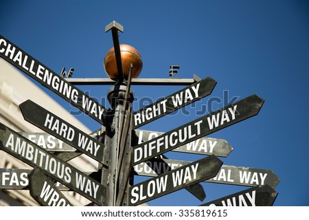 Conceptual sign post.  Directional sign with mixed messages, correct way, difficult, slow, challenging, hard, ambitious, wrong, fast way,etc - stock photo