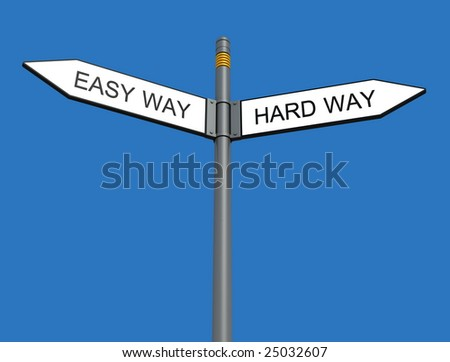 conceptual sign post isolated on blue background - stock photo