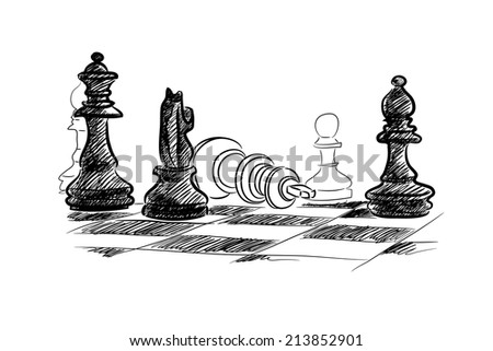 Conceptual sketch image with chess pieces on white background - stock photo
