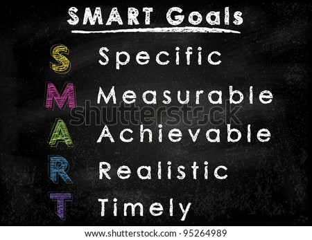 Conceptual SMART Goals acronym on black chalkboard (Specific, Measurable, Achievable, Realistic, Timely) - stock photo