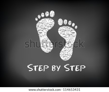 Conceptual step by step slide foot on black chalkboard and white chalk. Footprint presentation template.