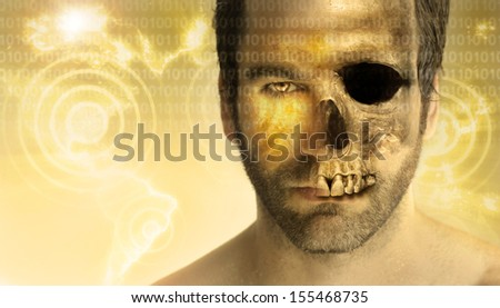 Conceptual stylized portrait of a man with have face and half skull with abstract modern background and elements