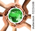 Conceptual symbol of a green Earth globe with multiracial human hands around it. Isolated on white background. Unity and world peace concept. - stock