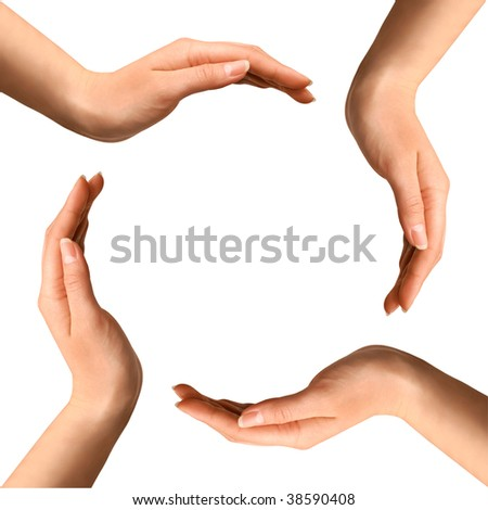 Conceptual symbol of four human hands making a circle on white background with a copy space at the centre - stock photo