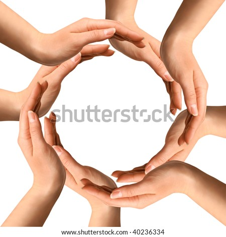 Conceptual symbol of human hands making a circle on white background with a copy space at the centre - stock photo