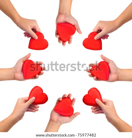 Conceptual symbol of love, hand with heart isolated on white with  a copy space in the middle - stock photo