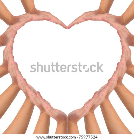 Conceptual symbol of love. Hands making a heart shape on white background with a copy space in the middle