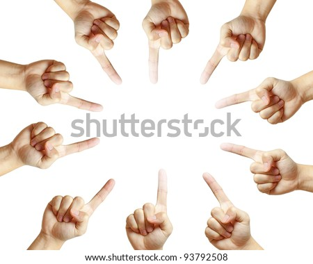 Conceptual symbol of male hand pointing on white background with a space in the middle - stock photo