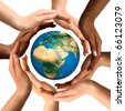 Conceptual symbol of multiracial human hands surrounding the Earth globe. Unity, world peace, humanity concept. Isolated on white background. - stock