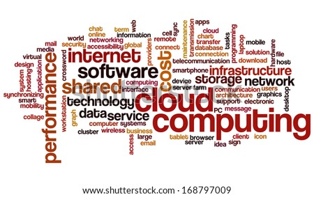 Conceptual tag cloud containing words related to cloud computing, computer performance, storage, networking, mobility, software other ICT related terms   - stock photo