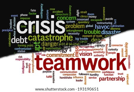 Conceptual tag cloud containing words related to crisis and trouble opposed to strategy, leadership, business, innovation, success, motivation, vision, mission and teamwork. - stock photo