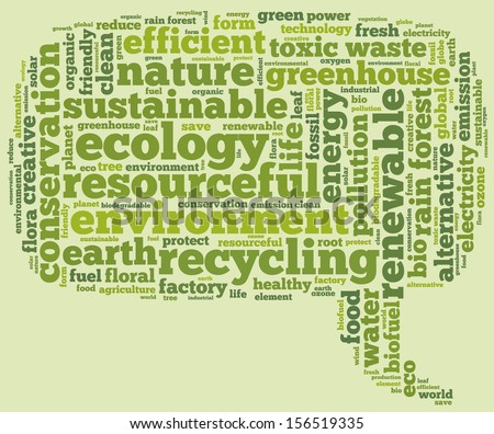 Conceptual tag cloud containing words related to ecology, environment, pollution, renewable resources, recycling, conservation, efficiency in the form of a callout on green background, pointing right - stock photo