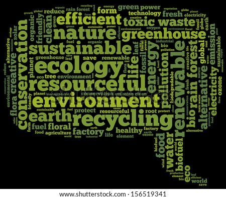 Conceptual tag cloud containing words related to ecology, environment, pollution, renewable resources, recycling, conservation, efficiency in the form of a callout on black background, pointing right - stock photo