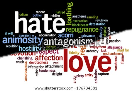 Conceptual tag cloud containing words related to hate and animosity opposed to love, caring, adulation, affection, devotion, passion and zeal. - stock photo