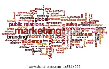 Conceptual tag cloud containing words related to marketing, business, advertising, social media, blogs, social networks and Internet.  - stock photo