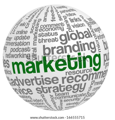 Conceptual tag cloud containing words related to marketing, business, advertising, social media, blogs, social networks and Internet in shape of sphere. - stock photo