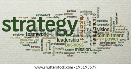 Conceptual tag cloud containing words related to strategy, leadership, business, innovation, success, motivation, vision, mission and teamwork; on paper texture - stock photo