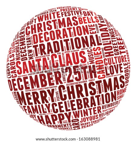 Conceptual tag cloud of words related to Christmas and celebration in the shape of a circle.