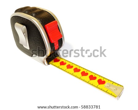 conceptual tape measure with red heart isolated on white - stock photo