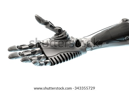 Conceptual Technology Design. Robotic Arm Ready to give handshake. Closeup Image of a part of mech. Template Isolated on white background. - stock photo