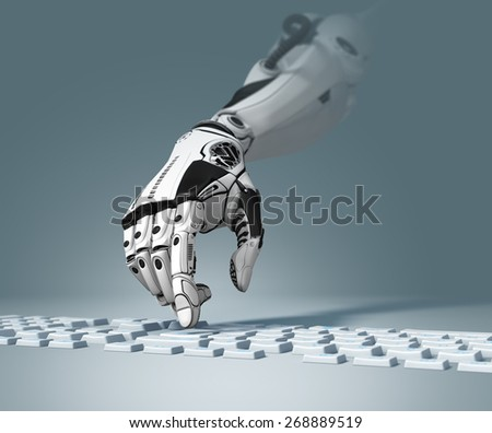 Conceptual Technology Design. Robotic Arm Working With Computer Keyboard. Closeup Image And Depth Of Field - stock photo