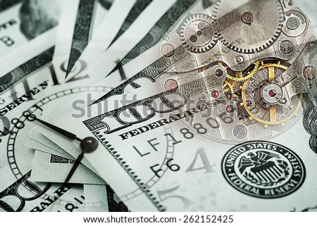 Conceptual the background time costs money stained in green - stock photo
