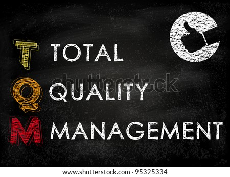 Conceptual TQM acronym on black chalkboard (Total Quality Management)
