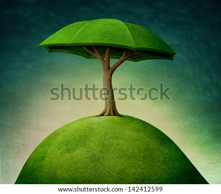 Conceptual tree, installation, umbrella. - stock photo