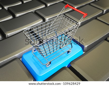 conceptual trolley stay in a black keys - stock photo